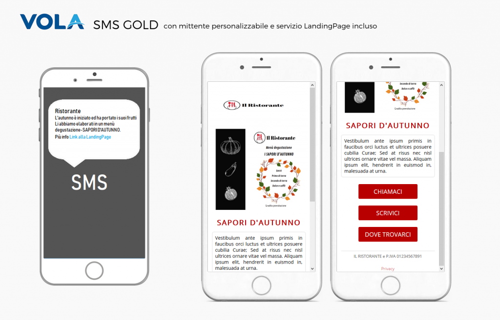 SMS d'autunno piattaforma Vola spa